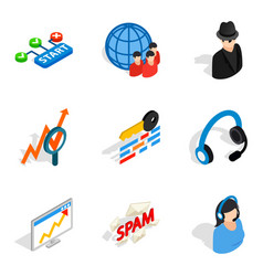Secretary icons set isometric style vector