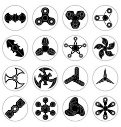 Set of 16 spinners of different shapes vector