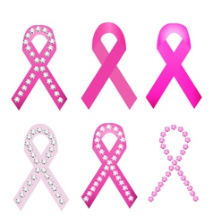 Set of Breast cancer award ribbons vector