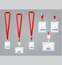 set of id cards badges with red lanyards vector image