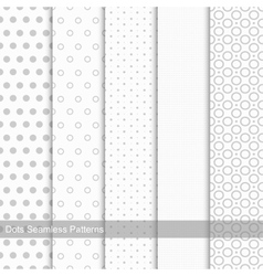 Set of seamless patterns with circles and dots vector