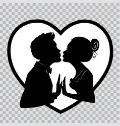 silhouettes of lovers on transparent background vector image