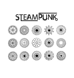 Steampunk gear-wheel round elements vector