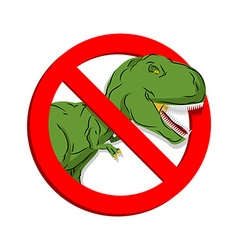 Stop dinosaur prohibited tirranozavr rex vector