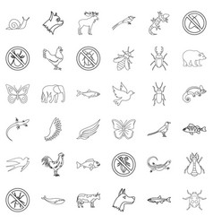 Swallow icons set outline style vector