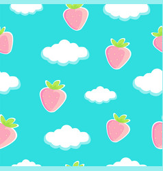 Sweet strawberries on blue sky with clouds seamles vector