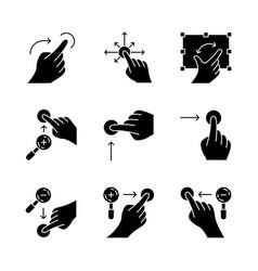 touchscreen gestures glyph icons set vector image