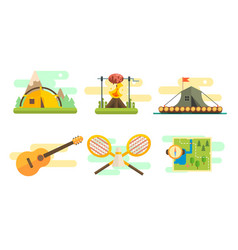 tourist equipment set camping elements bonfire vector image