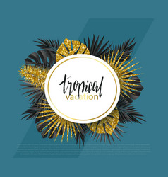 Trendy summer banner poster with golden tropical vector