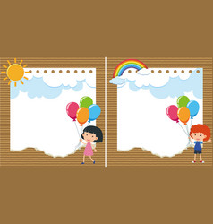 two background with kids and balloons vector image
