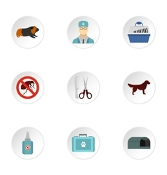 Veterinarian icons set flat style vector