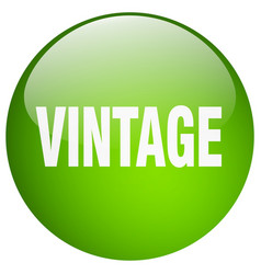 Vintage green round gel isolated push button vector