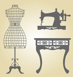 Vintage Mannequin and Sewing Machine vector image