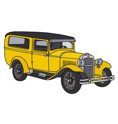 Vintage yellow car vector