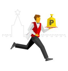 Waiter runs with money bag on tray kremlin behind vector
