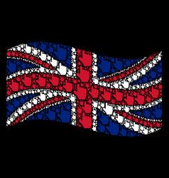 Waving united kingdom flag mosaic of pointer vector