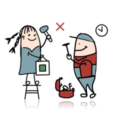 Woman and repairman sketch for your design vector