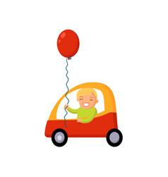boy driving car cartoon vector image