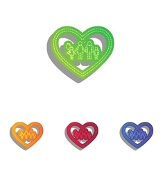 Family sign in heart shape Colorfull vector image