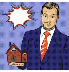 Pop art of real estate agent vector