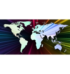 Colorful 3d background with world map abstract vector image vector image