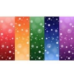 Multi-colored backgrounds circles snow Set vector image