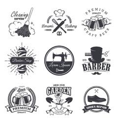 set of vintage workshop emblems vector image vector image