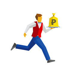 waiter runs with money bag on a tray vector image vector image