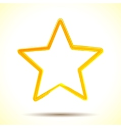 Yellow watercolor brush painted ink star vector image