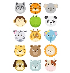 cute cartoon animals faces set vector image
