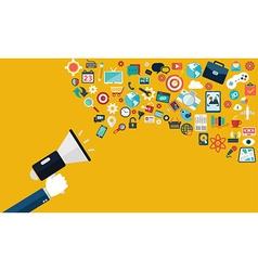 Digital marketing flat Hand with speaker vector image