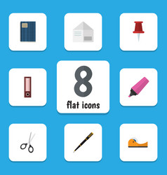 flat icon equipment set of letter dossier marker vector image vector image