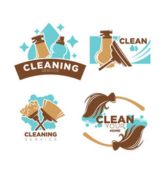 home cleaning service icons set brooms vector image vector image