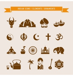 India - collection of icons and elements vector image vector image