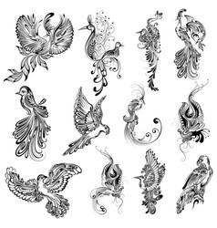 tattoo art design of bird collection vector image