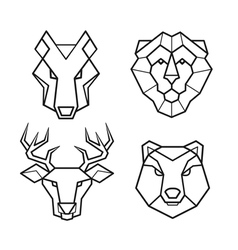 Wild animals geometric head set vector image vector image