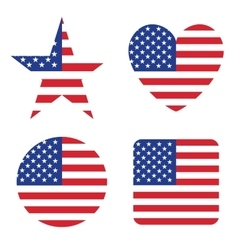 American United States Flag in form button of icon vector image vector image