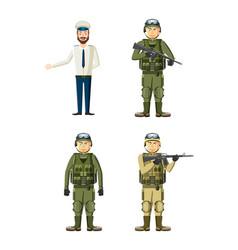 army man icon set cartoon style vector image