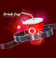 drink cup movie cinema object vector image vector image