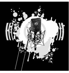 graffiti black and white microphone vector image
