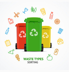 realistic 3d detailed recycled bins witch color vector image vector image