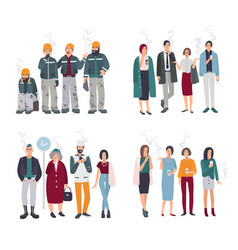 set of smoking room different people on smoke vector image vector image