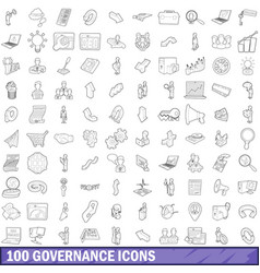 100 governance icons set outline style vector