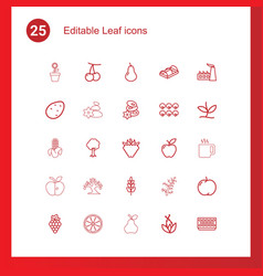 25 leaf icons vector image