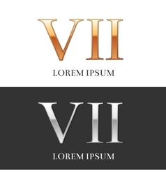 7 VII Luxury Gold and Silver Roman numerals vector
