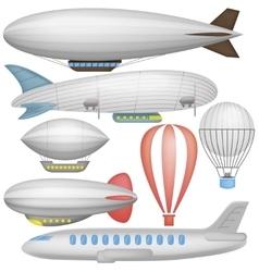Airship balloons and airplane vector