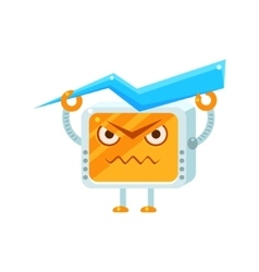 Angry Little Robot Character vector image