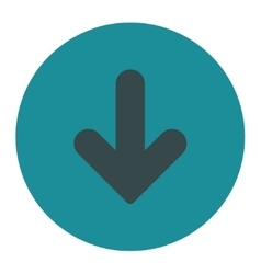 Arrow Down flat soft blue colors round button vector