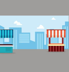 Art of street stall wity city background vector