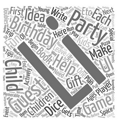 Birthday Party Ideas for Children Ages 2 12 text vector image
